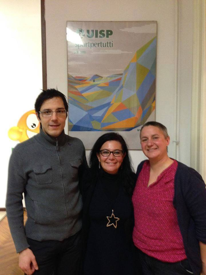 Elena Debetto (right) with My Sport is Franja project leader Samo Kofol and Daniela Conti of UISP.